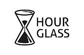 Hourglass icon in blank and white color. Sandglass symbol isolated on white background