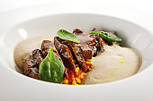 Beef heart ragout and vegetables