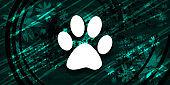 Animal footprint icon floral emerald green banner background natural design illustration