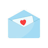 An open envelope with a love letter inside. Valentine's day concept, vector flat illustration.
