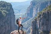 a wandering man on the canyon