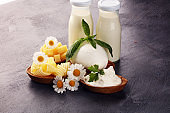milk products. tasty healthy dairy products on a table on. mozzarella in a bowl, cottage cheese bowl, butter swirls, glass bottle