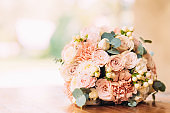 Wedding bridal bouquet of roses and peony roses