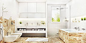 White mosaic bathroom