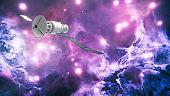 Satellite on nebula background