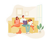 Family staying at home vector