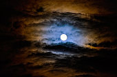 Dramatic night sky with full moon over United Kingdom