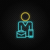 briefcase, businesswoman neon icon. Blue and yellow neon vector icon.