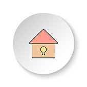 Round button for web icon, Locked house. Button banner round, badge interface for application illustration