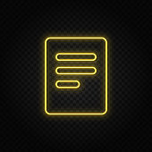 Yellow neon icon document. Transparent background. Yellow neon vector icon