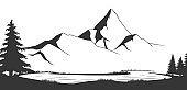 Mountain range black and white vector illustration