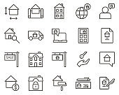 contract, property, rent set vector icons. Real estate icon set. Simple Set of Real Estate Related Vector Line Icons. Contains such Icons as Map, Plan, Bedrooms