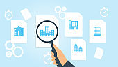 building file, document research vector illustration. Document with search icons. File and magnifying glass. Analytics research sign. Vector Illustration