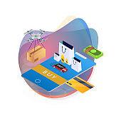Concept of e-commerce sales, online shopping, digital marketing. Isometric vector illustration