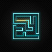 Labyrinth, way, road neon icon. Blue and yellow neon vector icon.