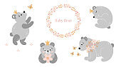 Childish collection with cute baby bear. Little princess. Floral ornament. Kids set. Pastel tender colors. Nursery art.