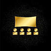theater, stage gold icon. Vector illustration of golden particle background.