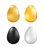 Set of colored Easter eggs on a white background black, white, gold and golden partcle