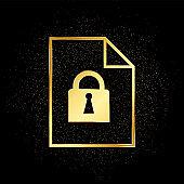Lock, folder, paper gold icon. Vector illustration of golden particle background.