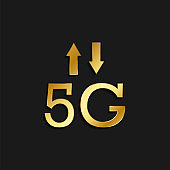 5g, signal, arrows gold icon. Vector illustration of golden style