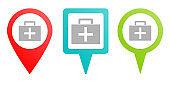 Medic suitcase pin icon. Multicolor pin vector icon