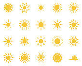 sun, sea, cloud. Summer time icon set. Set of yellow icons of the sun, isolated on white background