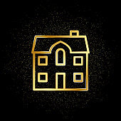 Home, house gold icon. Vector illustration of golden particle background. Real estate concept vector illustration