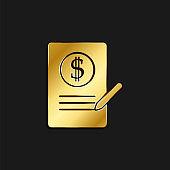 Agreement, business gold icon. Vector illustration of golden dark background.