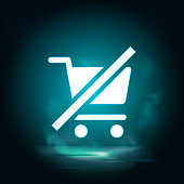 Cart, clear, shopping vector icon. Lighting blue smoke neon icon.
