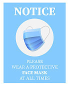 please wear a face mask sign or sticker