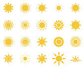 sun, sea. Summer time icon set. Set of yellow icons of the sun, isolated on white background