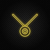 Yellow neon icon medal, prize. Transparent background. Yellow neon vector icon