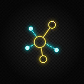 Connections, graph neon icon. Blue and yellow neon vector icon.
