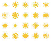 sun. Summer time icon set. Set of yellow icons of the sun, isolated on white background