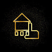 Chalk, hand, house gold icon. Vector illustration of golden particle background. Real estate concept vector illustration