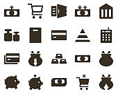 Money and finance icon set, coming, money, wallet. Investment, banking, money and finance icons