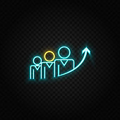 business growth, business, success neon icon. Blue and yellow neon vector icon.