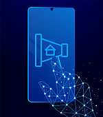 ads, apartment, house, marketing vector icon. Polygon style touch phone vector