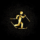 Skier skiing gold, icon. Vector illustration of golden particle