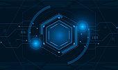vector sci fi hexagonal futuristic pattern, innovation future technology background,