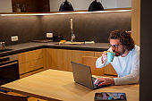Man working late at home office