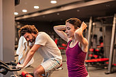 People taking a workout break