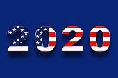 USA presidential election 2020 american vote, horizontal banner design on blue background.Illustration.