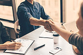 close up. handshake of business people in the office