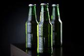 Bottles of beer on bar counter