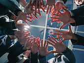 close up. young business team standing in a circle