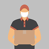 vector of delivery man with mask