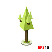 Green tree isometric illustration