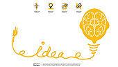 Sketch - brain light bulb - Creativity modern Idea and Concept illustration- infographic template.