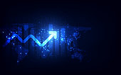 Futuristic raise arrow chart digital transformation abstract technology background. Big data and business growth currency stock and investment future economy .